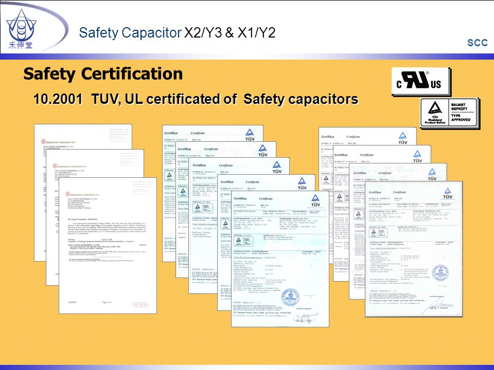 10.2001 TUV, UL certificated of Safety capacitors 10.2001 TUV, UL certificated of Safety capacitors Safety Certification 禾伸堂 Safety Capacitor X2/Y3 & X1/Y2 SCC
