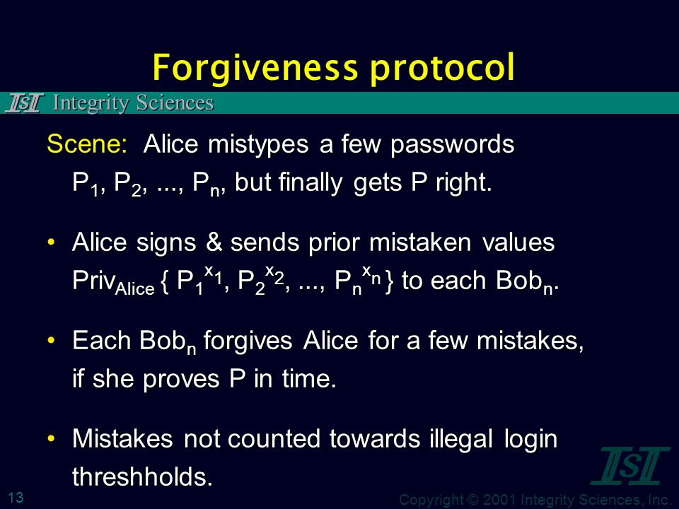 Copyright © 2001 Integrity Sciences, Inc. Integrity Sciences 13 Forgiveness protocol Scene: Alice mistypes a few passwords P 1, P 2,..., P n, but fina