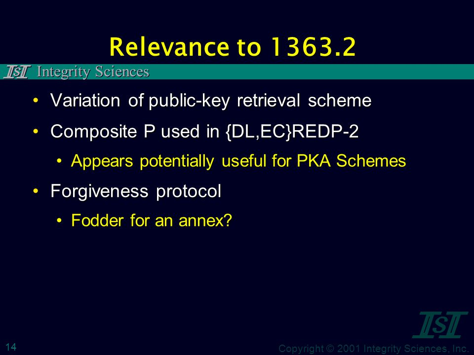 Copyright © 2001 Integrity Sciences, Inc. Integrity Sciences 14 Relevance to 1363.2 Variation of public-key retrieval schemeVariation of public-key re