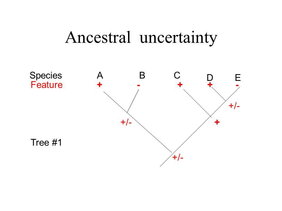 Ancestral uncertainty ABC D Species Feature++-- +/- Tree #1 + + E