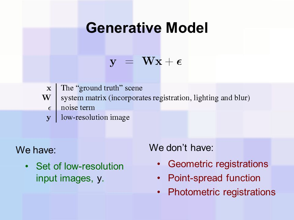 Generative Model Geometric registrations Point-spread function Photometric registrations We don't have: We have: Set of low-resolution input images, y