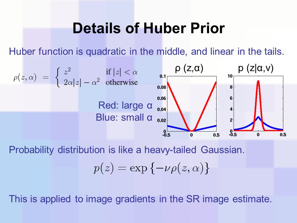 Details of Huber Prior Huber function is quadratic in the middle, and linear in the tails. Probability distribution is like a heavy-tailed Gaussian. ρ