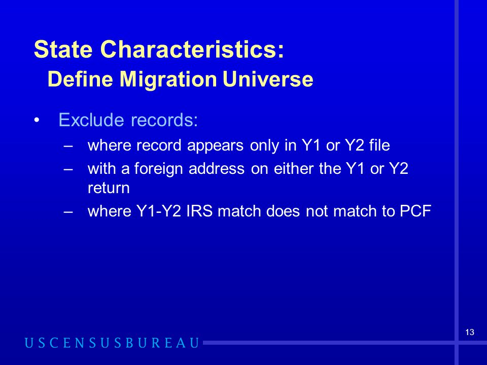 13 State Characteristics: Define Migration Universe Exclude records: –where record appears only in Y1 or Y2 file –with a foreign address on either the Y1 or Y2 return –where Y1-Y2 IRS match does not match to PCF