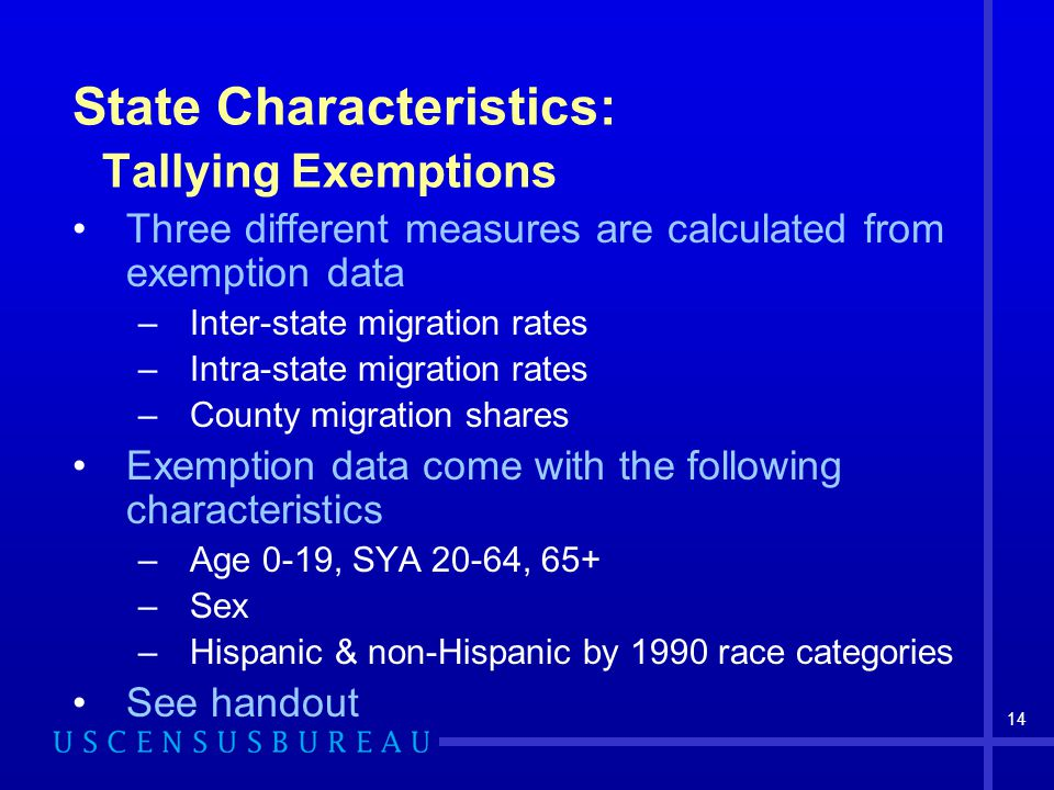14 State Characteristics: Tallying Exemptions Three different measures are calculated from exemption data –Inter-state migration rates –Intra-state migration rates –County migration shares Exemption data come with the following characteristics –Age 0-19, SYA 20-64, 65+ –Sex –Hispanic & non-Hispanic by 1990 race categories See handout