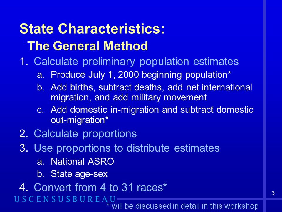 3 State Characteristics: The General Method 1.Calculate preliminary population estimates a.Produce July 1, 2000 beginning population* b.Add births, subtract deaths, add net international migration, and add military movement c.Add domestic in-migration and subtract domestic out-migration* 2.Calculate proportions 3.Use proportions to distribute estimates a.National ASRO b.State age-sex 4.Convert from 4 to 31 races* * will be discussed in detail in this workshop