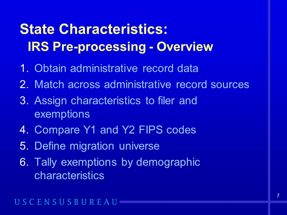 8 State Characteristics: Obtain Administrative Record Data Internal Revenue Service (IRS) 1040 files –Address in 2002 (Y1) –Address in 2003 (Y2) –Number of exemptions – filer, spouse, child, parent Social Security Numident File –Collapse records to Census Numident Person Characteristics File (PCF) –File contains modeled age, sex, race, and Hispanic origin for all persons with an SSN