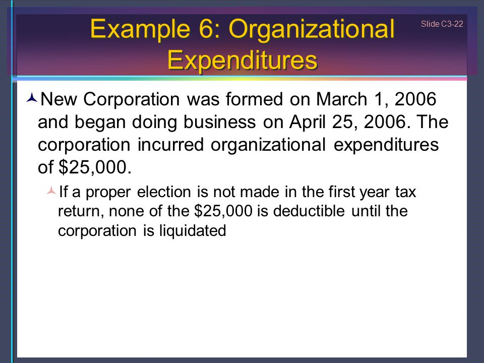 Slide C3-22 Example 6: Organizational Expenditures New Corporation was formed on March 1, 2006 and began doing business on April 25, 2006.