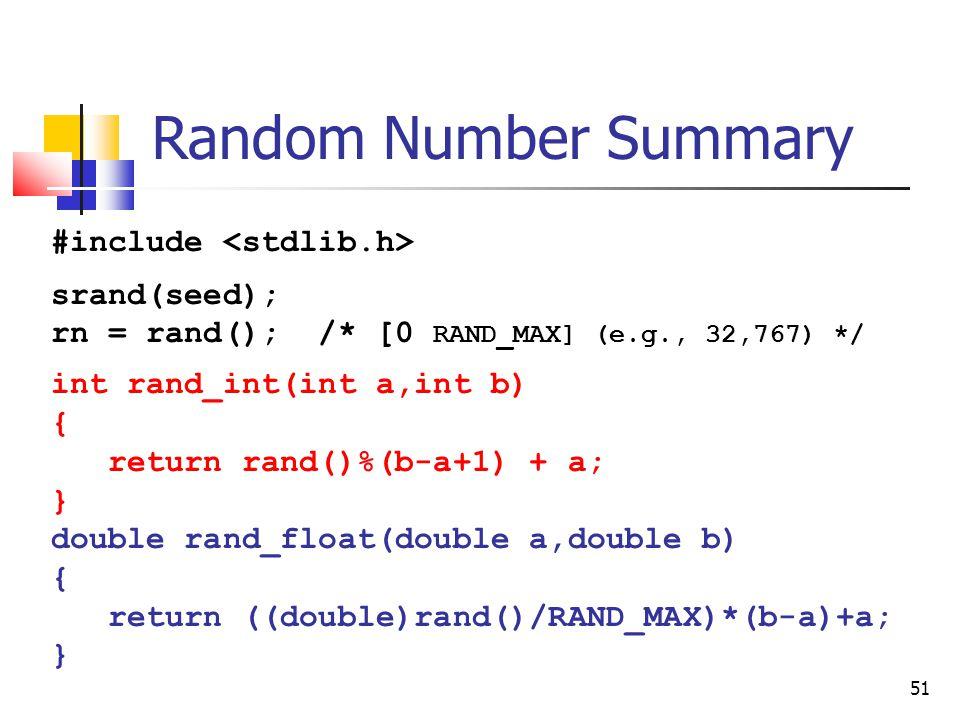 51 Random Number Summary #include srand(seed); rn = rand(); /* [0 RAND_MAX] (e.g., 32,767) */ int rand_int(int a,int b) { return rand()%(b-a+1) + a; } double rand_float(double a,double b) { return ((double)rand()/RAND_MAX)*(b-a)+a; }