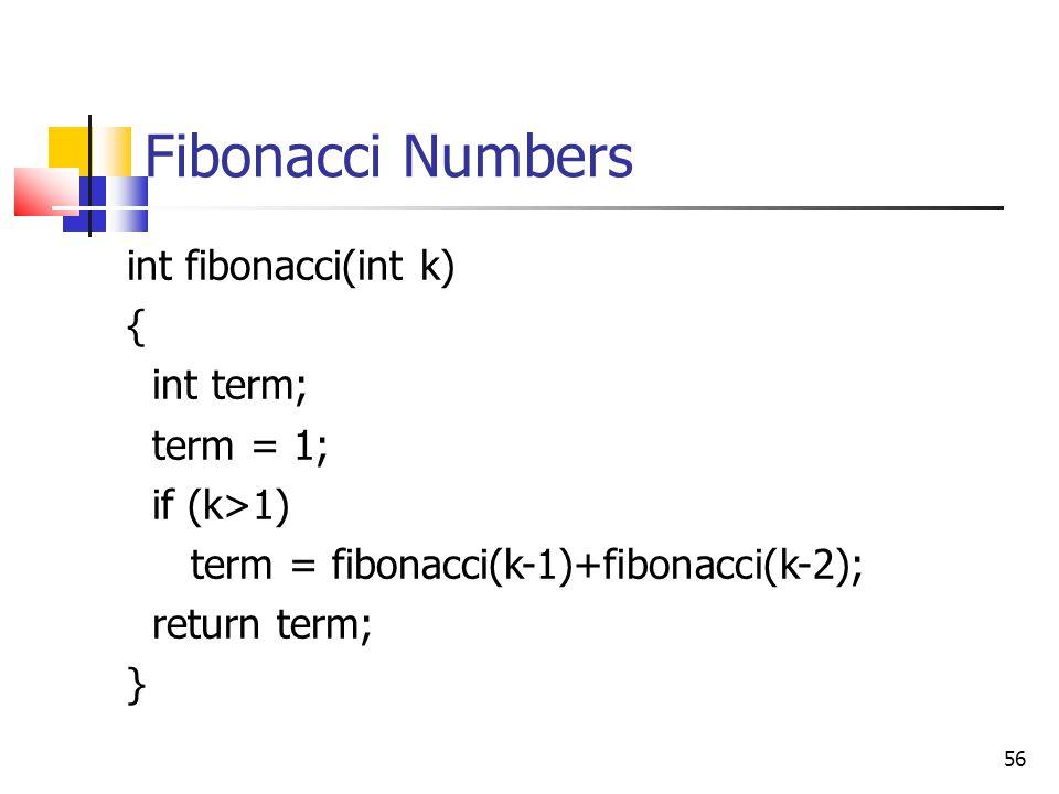 56 Fibonacci Numbers int fibonacci(int k) { int term; term = 1; if (k>1) term = fibonacci(k-1)+fibonacci(k-2); return term; }