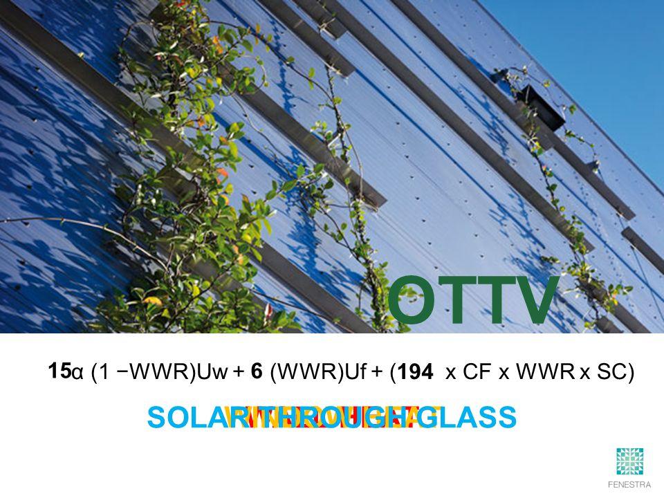 α (1 −WWR)Uw + (WWR)Uf + ( x CF x WWR x SC) 15 6 194 WALL HEAT WINDOW HEATSOLAR THROUGH GLASS OTTV