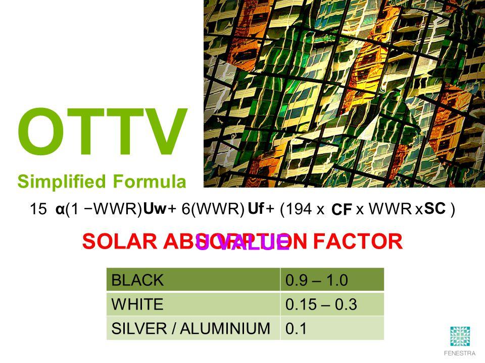 15 (1 −WWR) + 6(WWR) + (194 x x WWR x ) OTTV Simplified Formula α Uw Uf SC CF BLACK0.9 – 1.0 WHITE0.15 – 0.3 SILVER / ALUMINIUM0.1 SOLAR ABSORPTION FACTOR U VALUE