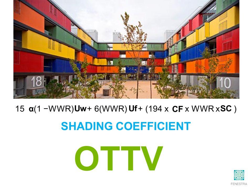 15 (1 −WWR) + 6(WWR) + (194 x x WWR x ) OTTV α Uw Uf SC CF SHADING COEFFICIENT