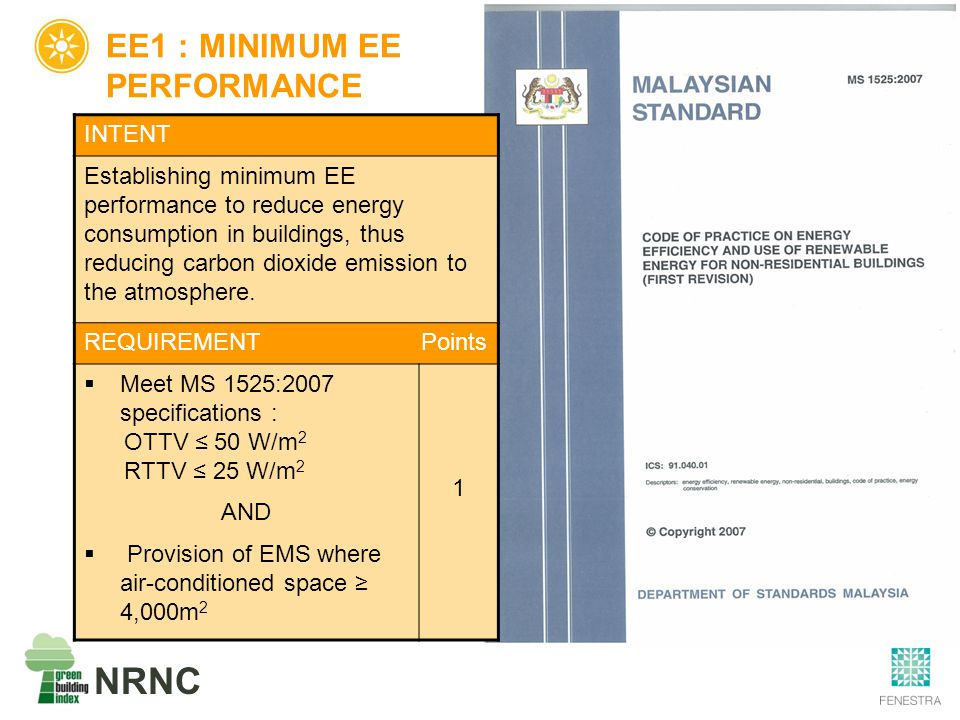 NRNC EE1 : MINIMUM EE PERFORMANCE INTENT Establishing minimum EE performance to reduce energy consumption in buildings, thus reducing carbon dioxide e