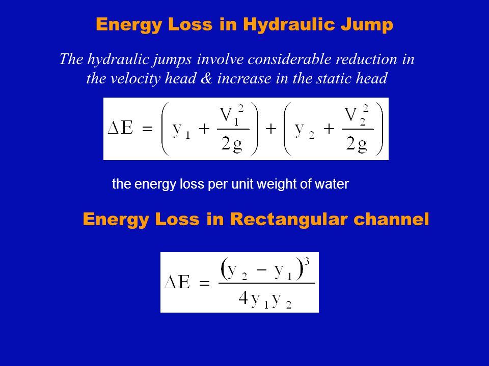 Energy Loss in Hydraulic Jump The hydraulic jumps involve considerable reduction in the velocity head & increase in the static head Energy Loss in Rec