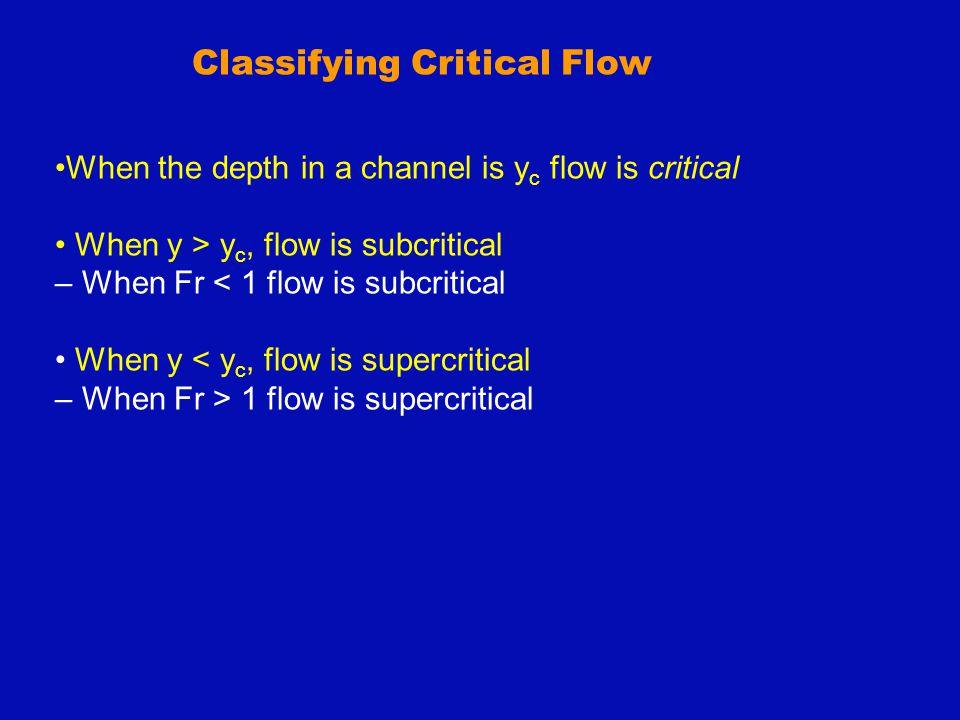 Classification of Hydraulic Jumps Undular Jump (1<Fr 1 <1.7) Weak Jump (1.7<Fr 1 <2.5) y 2 /y 1 =2-3 Oscillating Jump (2.5<Fr 1 <4.5) Stable Jump (4.5<Fr 1 <9) Strong Jump (Fr 1 >9) y 2 /y 1 =12-20 y 2 /y 1 =3-6 y 2 /y 1 =6-12