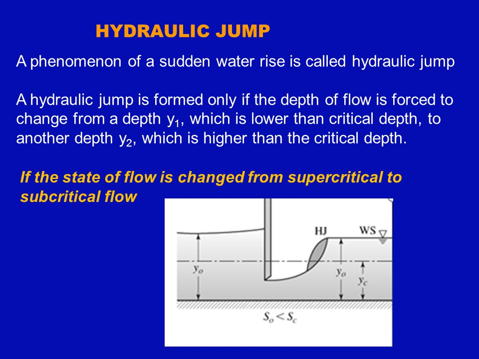 HYDRAULIC JUMP A phenomenon of a sudden water rise is called hydraulic jump A hydraulic jump is formed only if the depth of flow is forced to change f