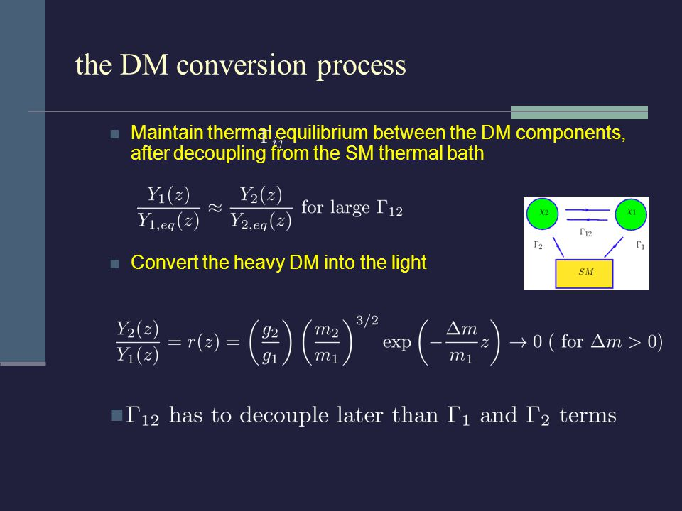 the DM conversion process Maintain thermal equilibrium between the DM components, after decoupling from the SM thermal bath Convert the heavy DM into the light