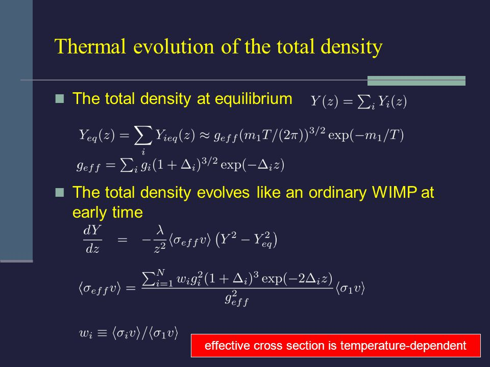 Thermal evolution of the total density The total density at equilibrium The total density evolves like an ordinary WIMP at early time effective cross section is temperature-dependent