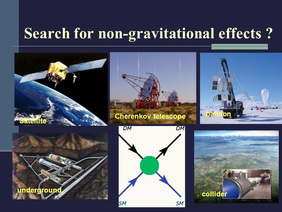 Search for non-gravitational effects Satellite underground Cherenkov telescope balloon collider