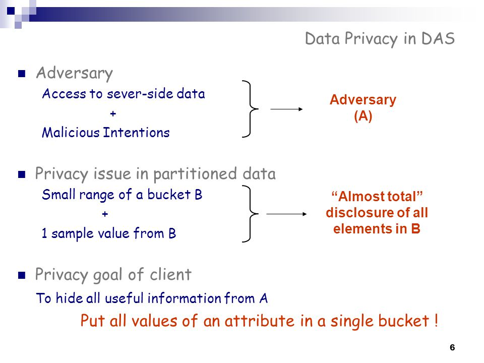 6 Data Privacy in DAS Adversary Access to sever-side data + Malicious Intentions Privacy issue in partitioned data Small range of a bucket B + 1 sampl