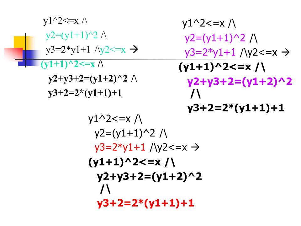 y1^2<=x /\ y2=(y1+1)^2 /\ y3=2*y1+1 /\y2<=x  (y1+1)^2<=x /\ y2+y3+2=(y1+2)^2 /\ y3+2=2*(y1+1)+1 y1^2<=x /\ y2=(y1+1)^2 /\ y3=2*y1+1 /\y2<=x  (y1+1)^