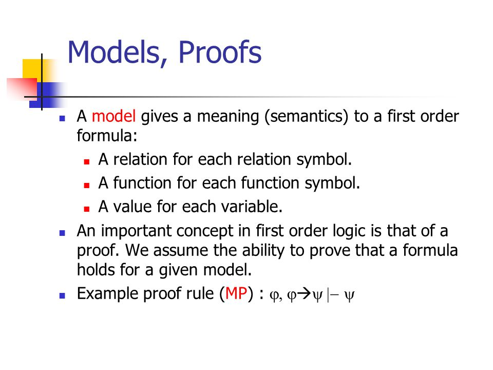 Models, Proofs A model gives a meaning (semantics) to a first order formula: A relation for each relation symbol.
