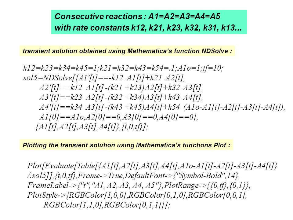 Consecutive reactions : A1=A2=A3=A4=A5 with rate constants k12, k21, k23, k32, k31, k13...
