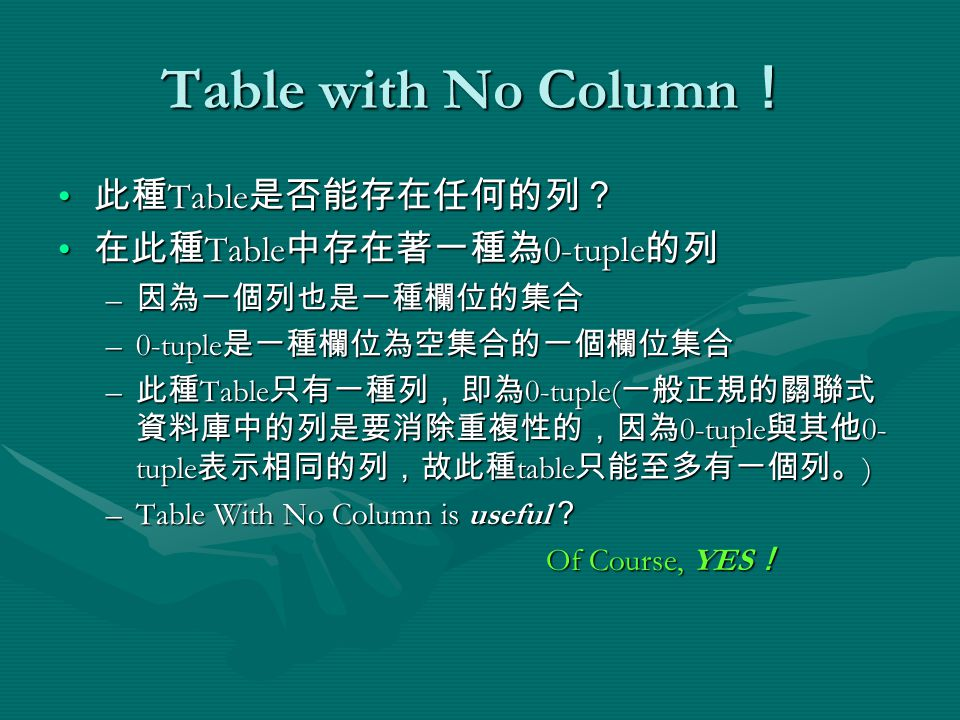 Table with No Column ! 此種 Table 是否能存在任何的列? 此種 Table 是否能存在任何的列? 在此種 Table 中存在著一種為 0-tuple 的列 在此種 Table 中存在著一種為 0-tuple 的列 – 因為一個列也是一種欄位的集合 –0-tuple 是一種欄位為空集合的一個欄位集合 – 此種 Table 只有一種列,即為 0-tuple( 一般正規的關聯式 資料庫中的列是要消除重複性的,因為 0-tuple 與其他 0- tuple 表示相同的列,故此種 table 只能至多有一個列。 ) –Table With No Column is useful ? Of Course, YES ! Of Course, YES !