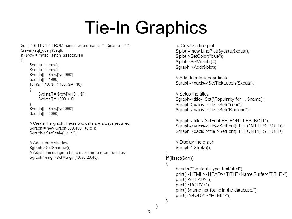 Tie-In Graphics $sql= SELECT * FROM names where name= .