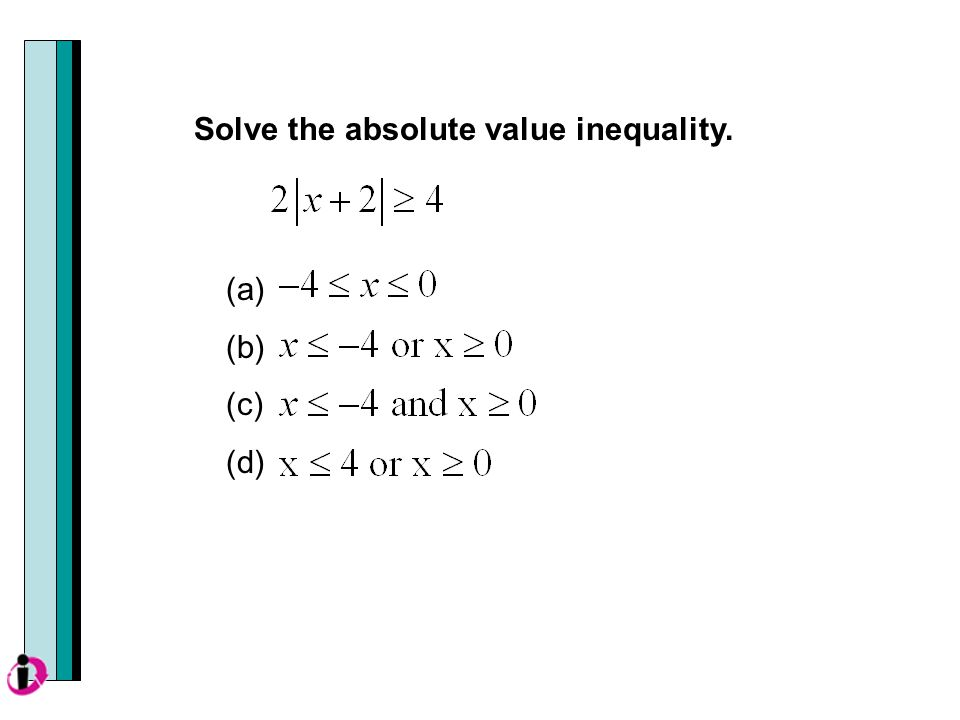 (a) (b) (c) (d) Solve the absolute value inequality.