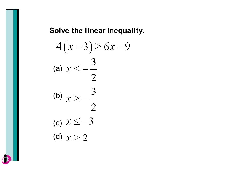 (a) (b) (c) (d) Solve the linear inequality.