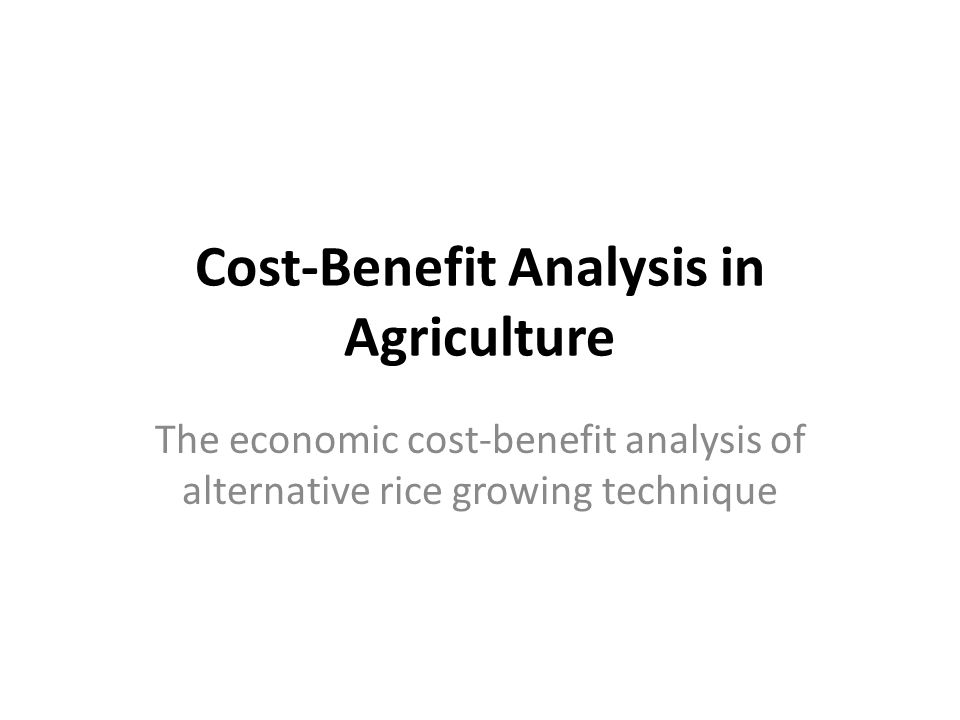 Cost-Benefit Analysis in Agriculture The economic cost-benefit analysis of alternative rice growing technique