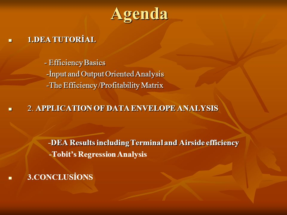 Agenda 1.DEA TUTORİAL 1.DEA TUTORİAL - Efficiency Basics - Efficiency Basics -İnput and Output Oriented Analysis -İnput and Output Oriented Analysis -The Efficiency /Profitability Matrix -The Efficiency /Profitability Matrix 2.