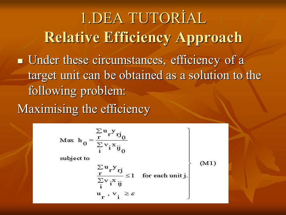Under these circumstances, efficiency of a target unit can be obtained as a solution to the following problem: Under these circumstances, efficiency of a target unit can be obtained as a solution to the following problem: Maximising the efficiency
