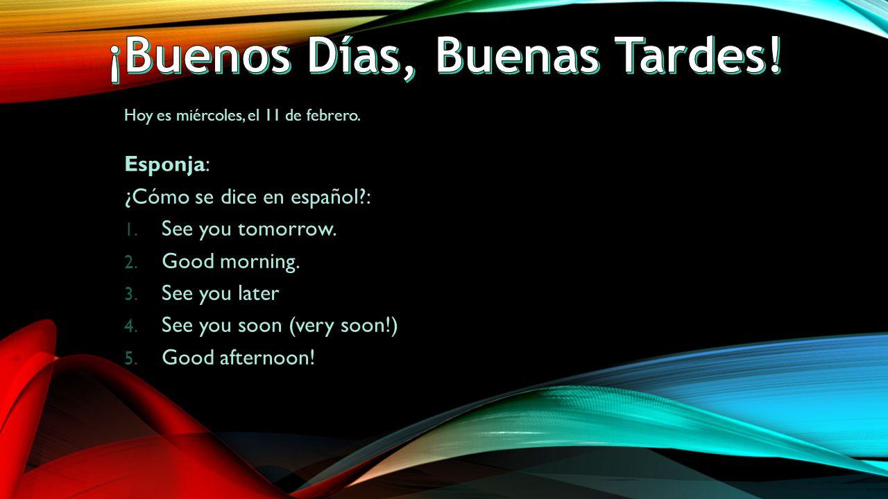 Hoy es miércoles, el 11 de febrero. Esponja: ¿Cómo se dice en español : 1.