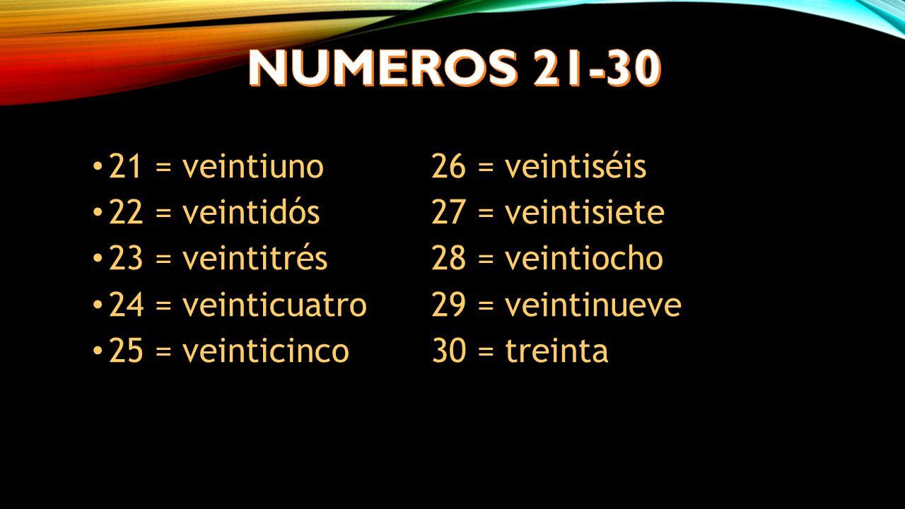 21 = veintiuno26 = veintiséis 22 = veintidós27 = veintisiete 23 = veintitrés28 = veintiocho 24 = veinticuatro29 = veintinueve 25 = veinticinco30 = treinta