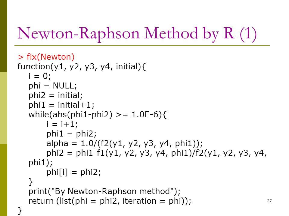 Newton-Raphson Method by R (1) > fix(Newton) function(y1, y2, y3, y4, initial){ i = 0; phi = NULL; phi2 = initial; phi1 = initial+1; while(abs(phi1-ph