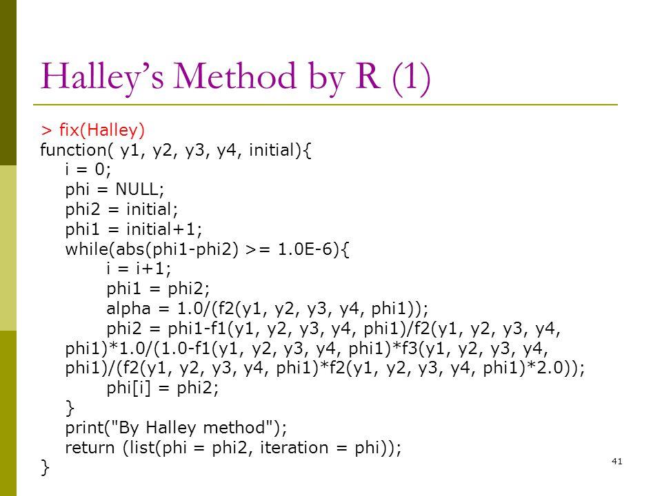 Halley's Method by R (1) > fix(Halley) function( y1, y2, y3, y4, initial){ i = 0; phi = NULL; phi2 = initial; phi1 = initial+1; while(abs(phi1-phi2) >