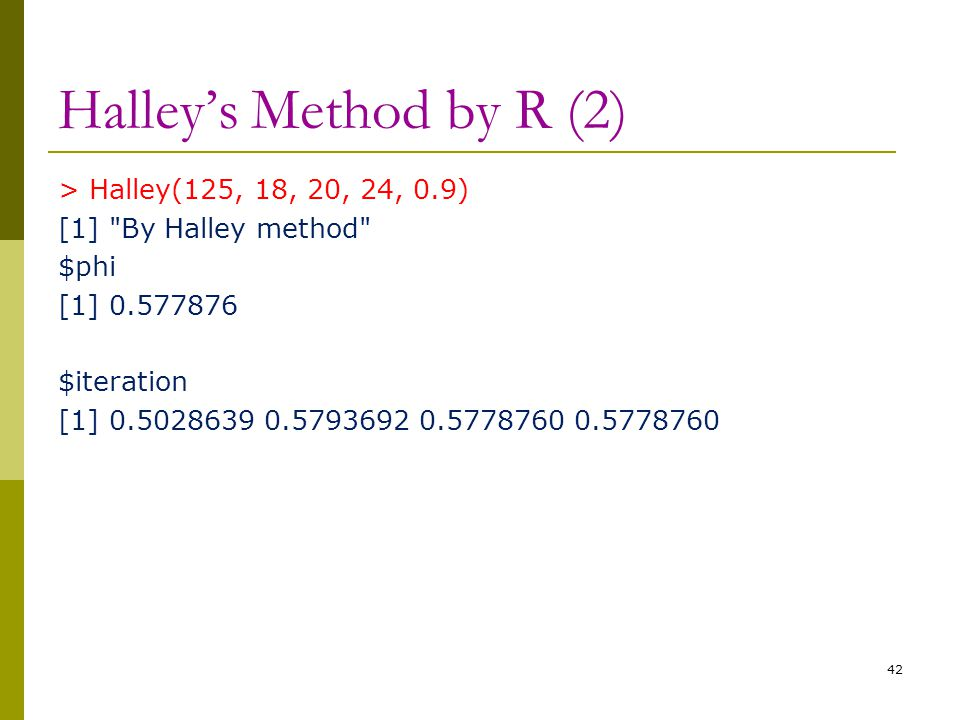 Halley's Method by R (2) > Halley(125, 18, 20, 24, 0.9) [1]