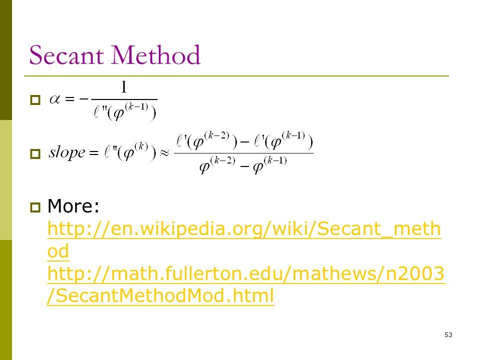 Secant Method   More: http://en.wikipedia.org/wiki/Secant_meth od http://math.fullerton.edu/mathews/n2003 /SecantMethodMod.html http://en.wikipedia.