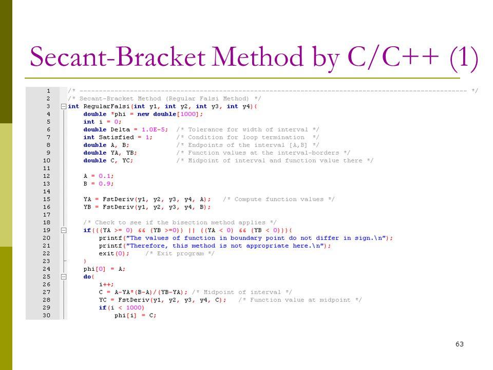Secant-Bracket Method by C/C++ (1) 63