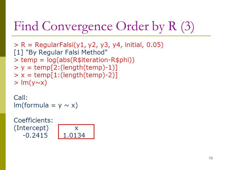 Find Convergence Order by R (3) > R = RegularFalsi(y1, y2, y3, y4, initial, 0.05) [1]