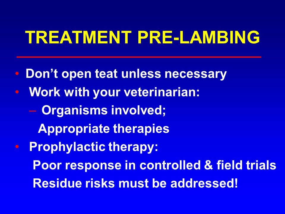 TREATMENT PRE-LAMBING Don't open teat unless necessary Work with your veterinarian: – Organisms involved; Appropriate therapies Prophylactic therapy: Poor response in controlled & field trials Residue risks must be addressed!