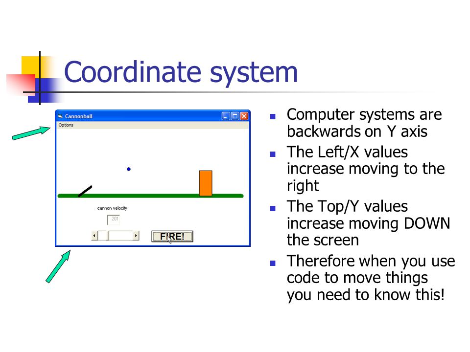 Coordinate system Computer systems are backwards on Y axis The Left/X values increase moving to the right The Top/Y values increase moving DOWN the screen Therefore when you use code to move things you need to know this!