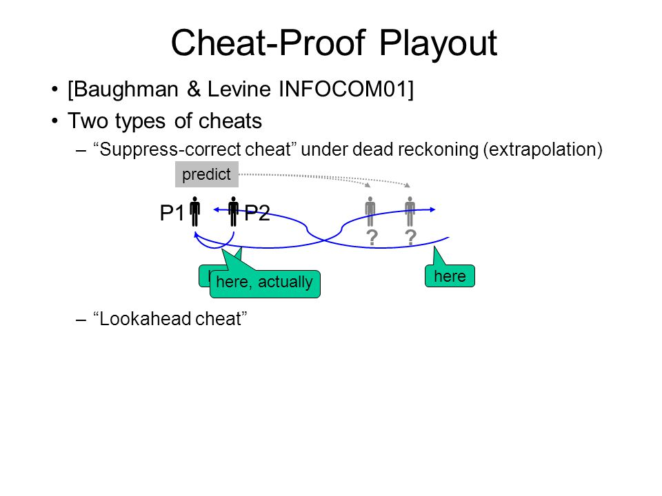 Cheat-Proof Playout [Baughman & Levine INFOCOM01] Two types of cheats – Suppress-correct cheat under dead reckoning (extrapolation) – Lookahead cheat  P1  P2  .