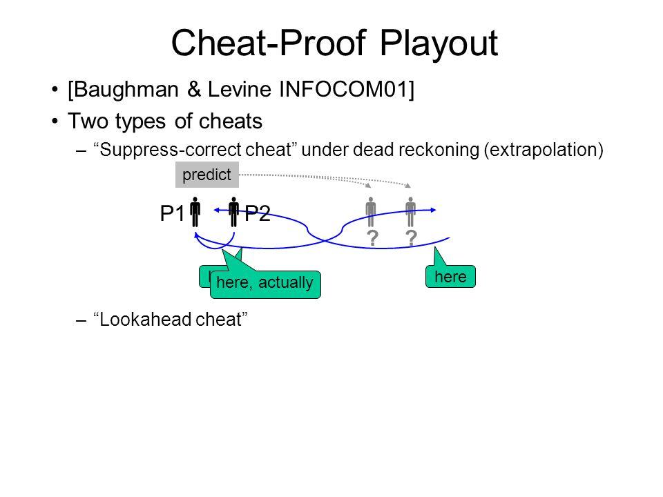 Cheat-Proof Playout [Baughman & Levine INFOCOM01] Two types of cheats – Suppress-correct cheat under dead reckoning (extrapolation) – Lookahead cheat  P1  P2  .