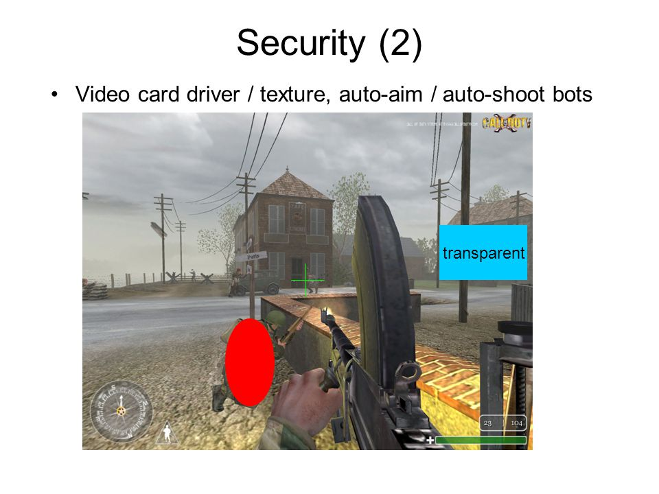 Security (2) Video card driver / texture, auto-aim / auto-shoot bots transparent