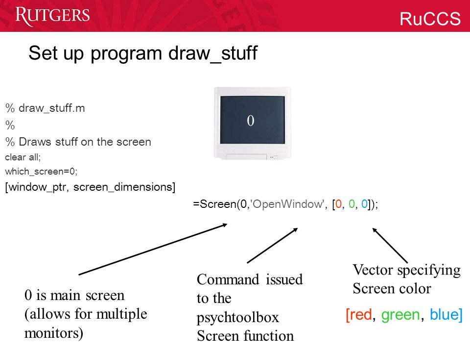 RuCCS Set up program draw_stuff % draw_stuff.m % % Draws stuff on the screen clear all; which_screen=0; [window_ptr, screen_dimensions] =Screen(0, OpenWindow , [0, 0, 0]); 0 is main screen (allows for multiple monitors) Command issued to the psychtoolbox Screen function [red, green, blue] Vector specifying Screen color 0