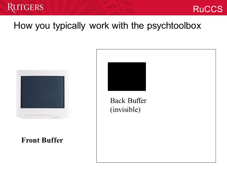 RuCCS How you typically work with the psychtoolbox Back Buffer (invisible) Front Buffer