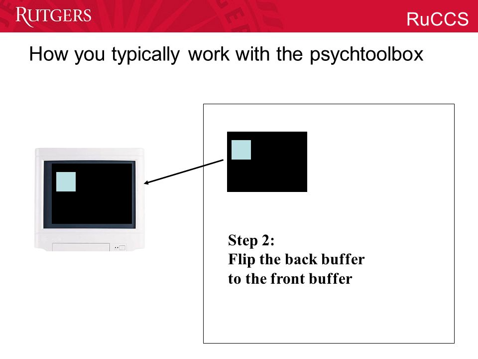 RuCCS How you typically work with the psychtoolbox Step 2: Flip the back buffer to the front buffer